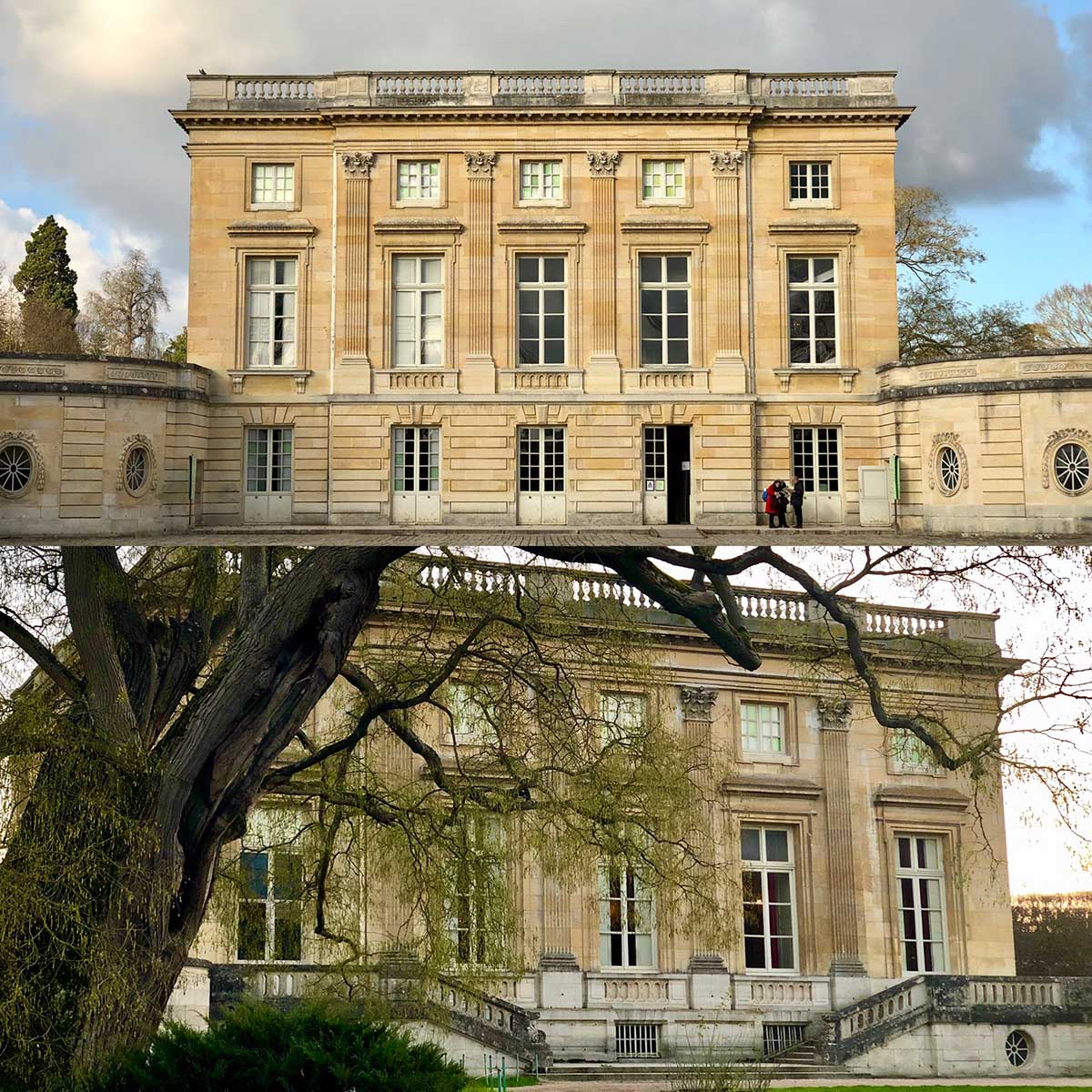 Facciata Sud (in alto) e Nord (in basso) dello château del Petit Trianon.